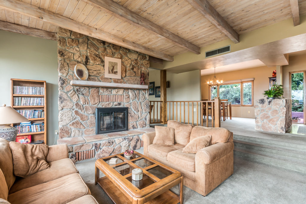 Check out the fireplace.